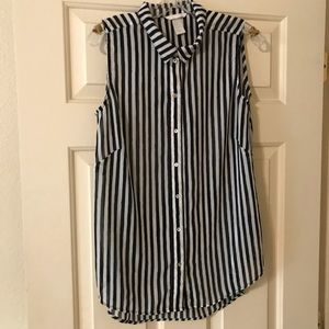 H&M black and white striped sheer shirt size 10